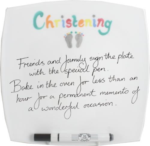Christening Plate Square (Brush)