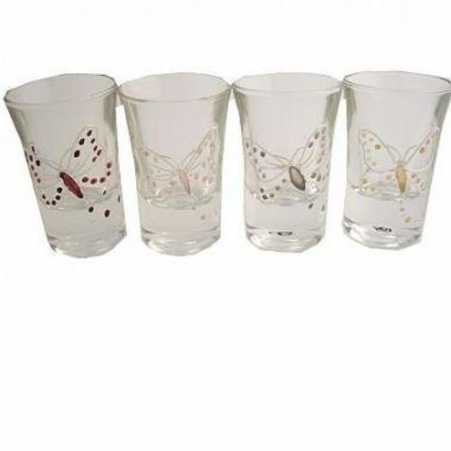 Butterfly Design Gift Shot Glasses: (Set of 4)