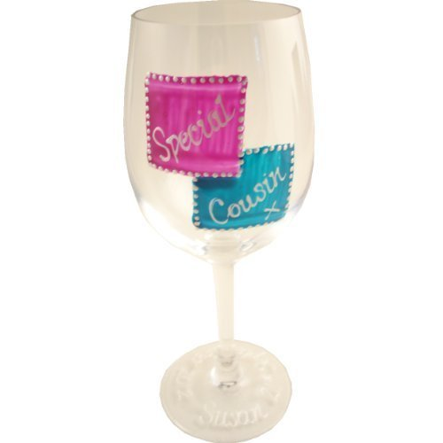 Special Cousin Gift Wine Glass: (Mag/Teal)