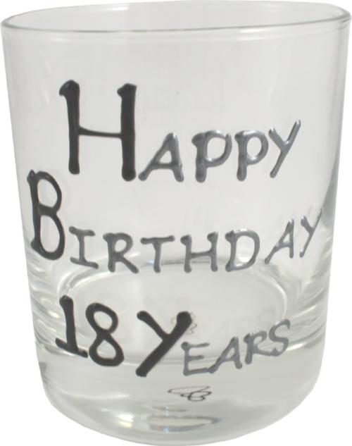18th Birthday Whisky Glass Blk/Sil