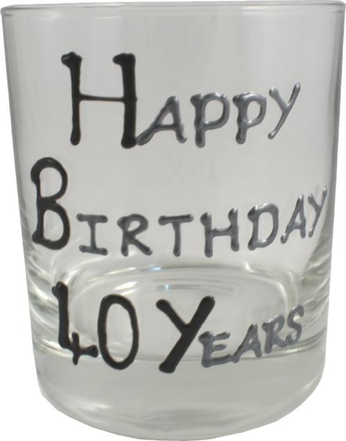 40th Birthday Whisky Glass Blk/Sil