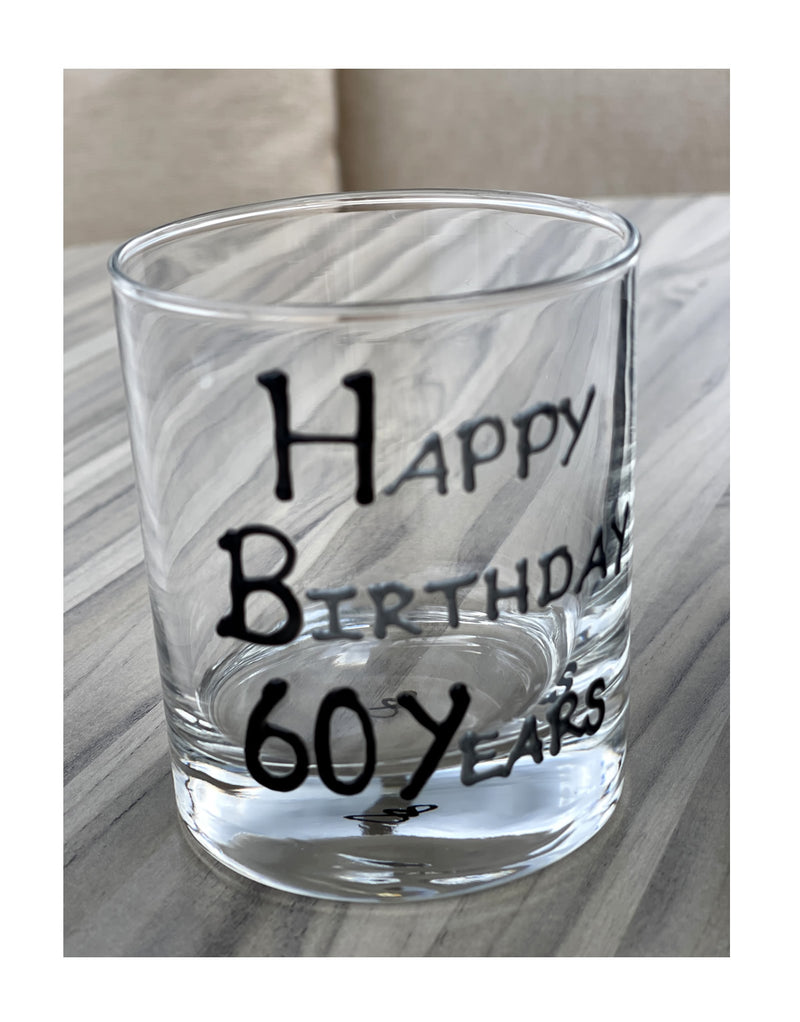 60th Birthday Whisky Glass Blk/Sil