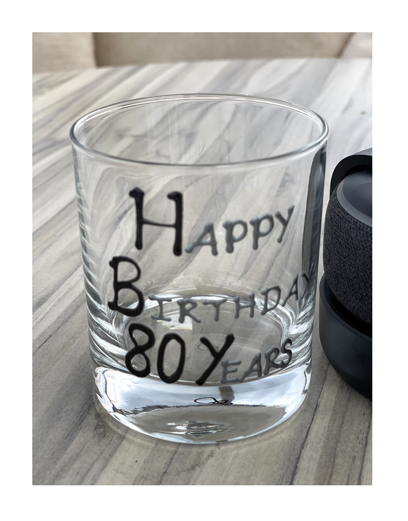 80th Birthday Whisky Glass Blk/Sil