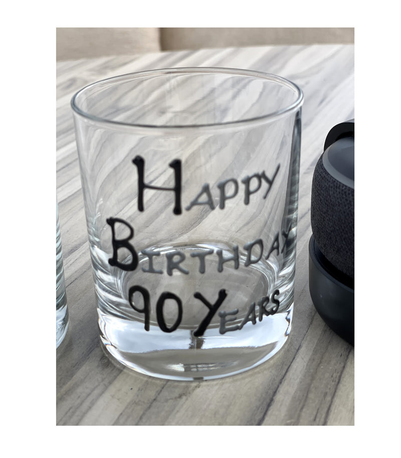 90th Birthday Whisky Glass Blk/Sil