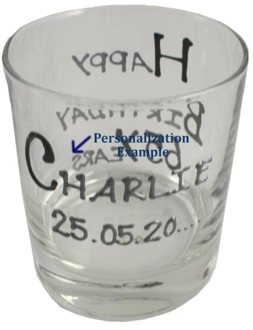 Personalised Birthday Whisky Glass Blk/Sil