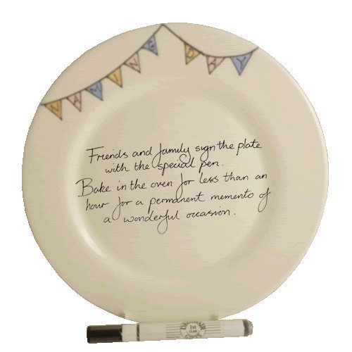 Naming Day Round Plate (Bunting)