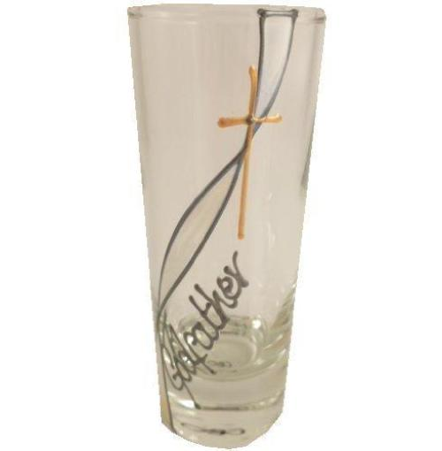 Godfather Gift Tall Shot Glass (Ribbon/Cross)