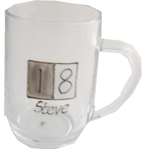 18th Birthday Gift Glass Tankard: (Grey Sq)
