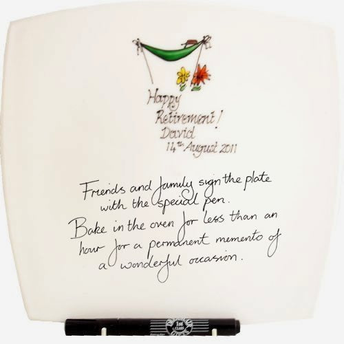 Personalised Retirement Gift Square Plate: Signed and Sealed