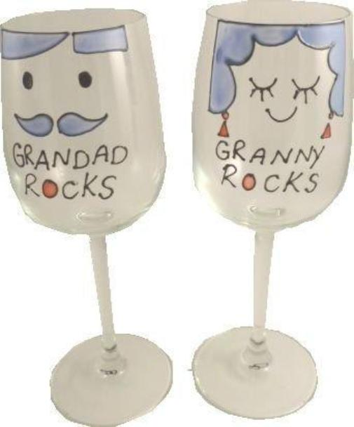 Grandad and Granny Rocks Wine: Glasses(Pair)