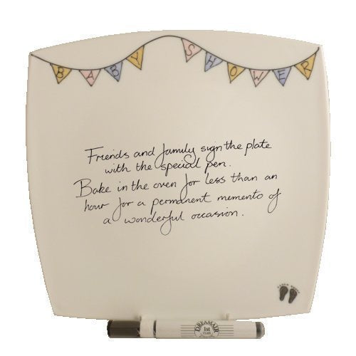 Baby Shower Gift Signature Plate: Square (Bunting)
