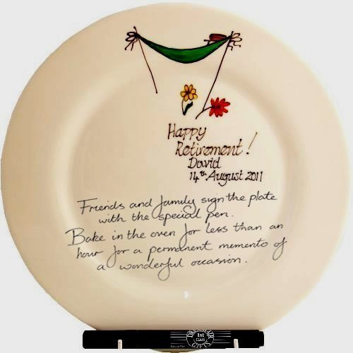 Personalised Gift Retirement Round Plate: Signed and Sealed