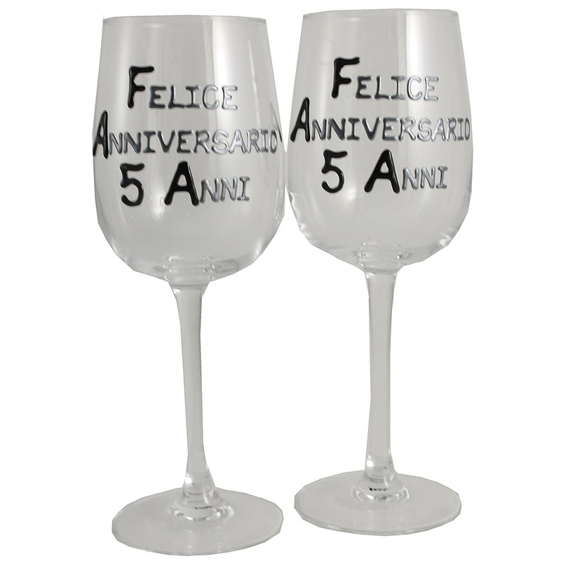 Coppia di bicchieri da vino 5° Anniversario - 5th Anniversary Pair of Wine Glasses (Blk/Sil)