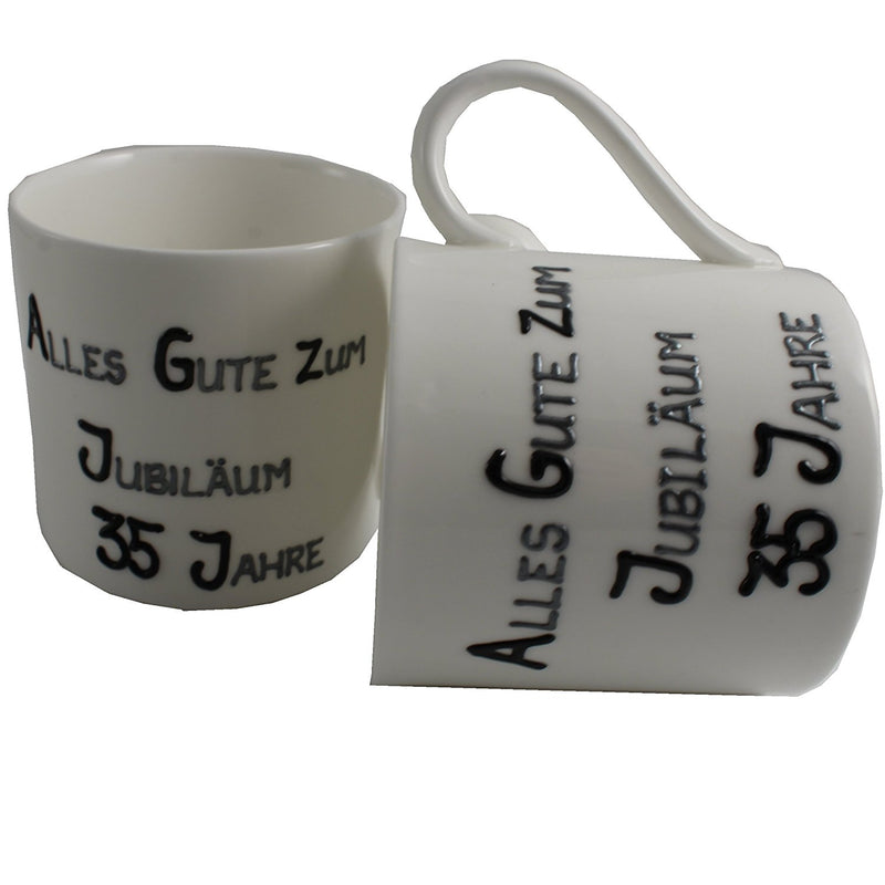 35 Jahre Alles Gute Zum Jubiläum Paar Feines Bone China Becher - 35th Wedding Anniversary Fine Bone China Mugs (Blk/Sil)