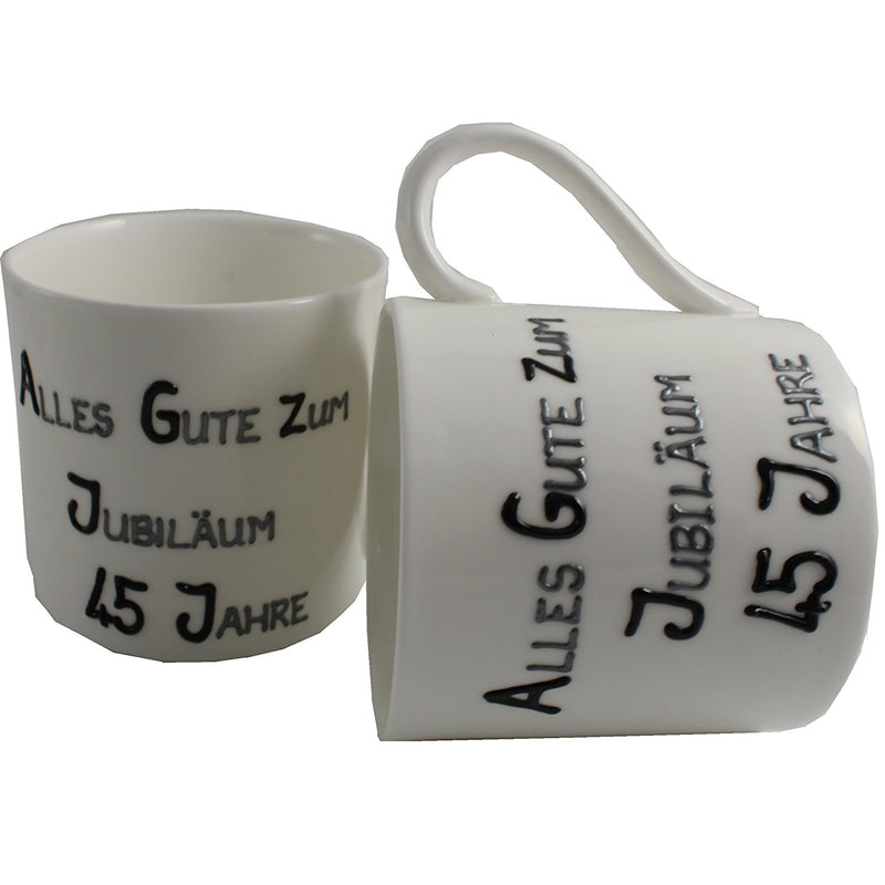45 Jahre Alles Gute Zum Jubiläum Paar Feines Bone China Becher - 45th Wedding Anniversary Fine Bone China Mugs (Blk/Sil)