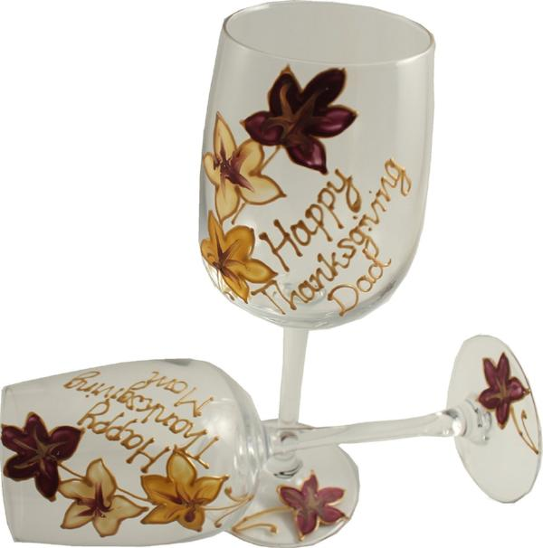 Pair of Thanksgiving Wine Glasses: