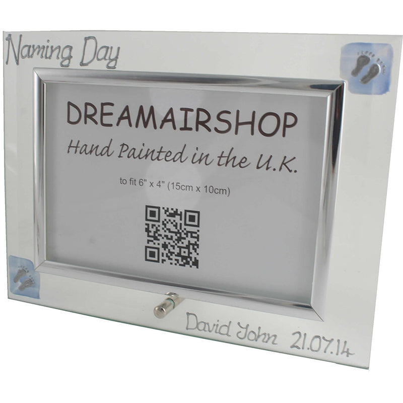 Personalised Naming Day Photo Frame Land (Blue Feet)