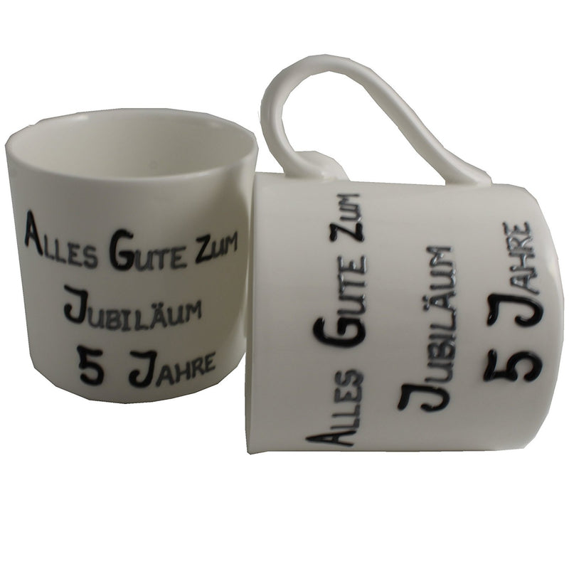 5 Jahre Alles Gute Zum Jubiläum Paar Feines Bone China Becher - 5th Wedding Anniversary Fine Bone China Mugs (Blk/Sil)