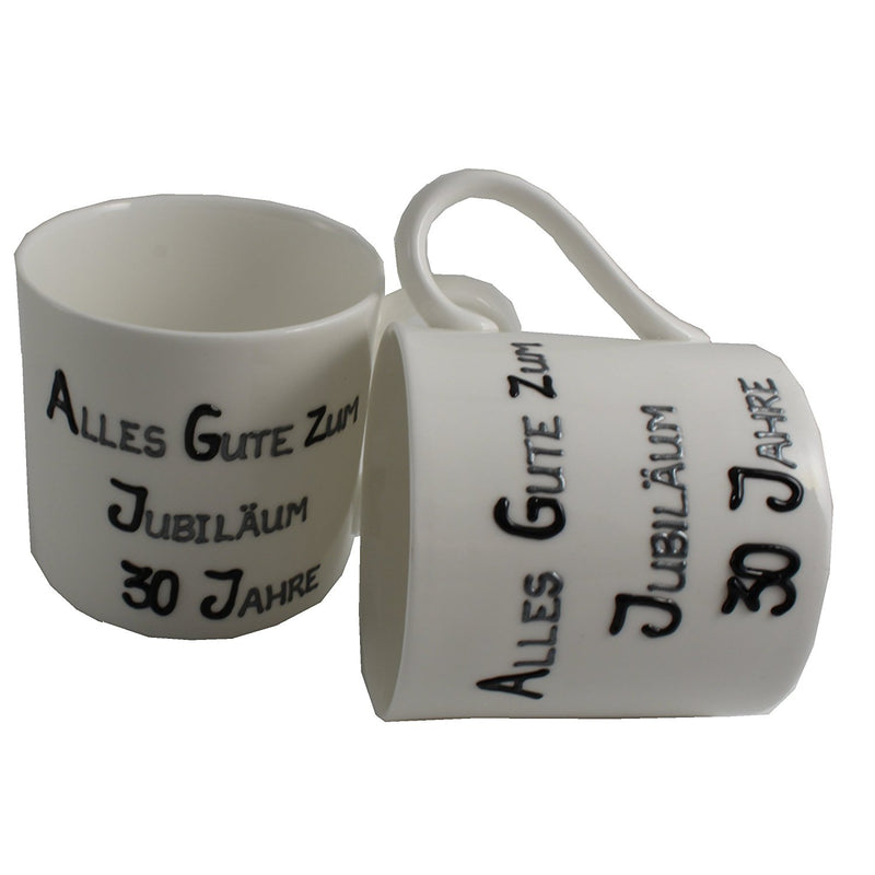 30 Jahre Alles Gute Zum Jubiläum Paar Feines Bone China Becher - 30th Wedding Anniversary Fine Bone China Mugs (Blk/Sil)