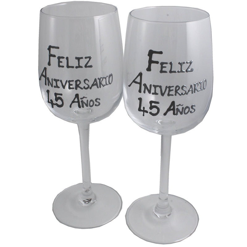 Un par de Copas de Vino Feliz Aniversario 45 Años - 45th Wedding Anniversary Pair of Wine Glasses (Blk/Sil)