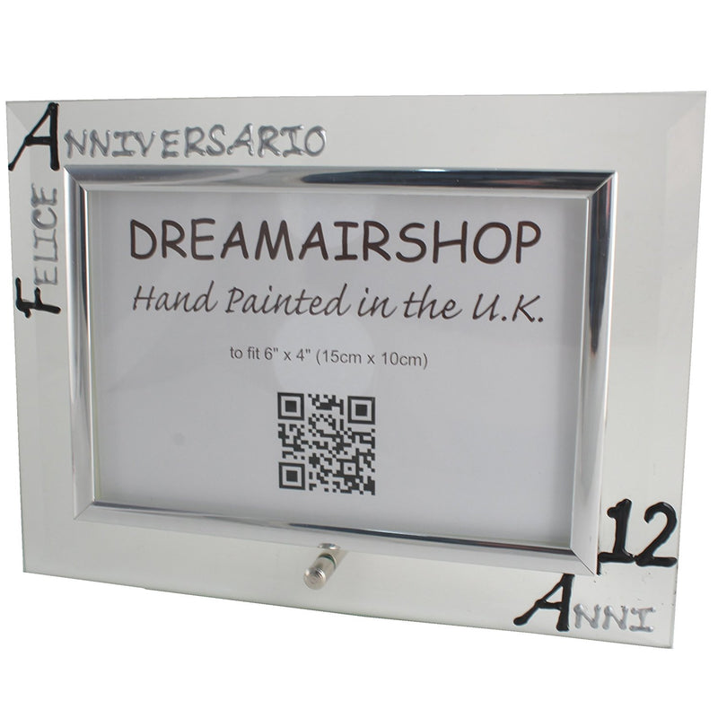 Cornice Foto 12° Anniversario - 12th Anniversary Photo Frame Land (Blk/Sil)