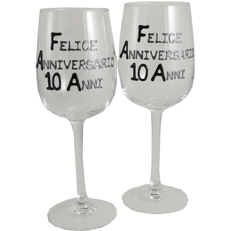 Coppia di bicchieri da vino 10° Anniversario - 10th Anniversary Pair of Wine Glasses (Blk/Sil)