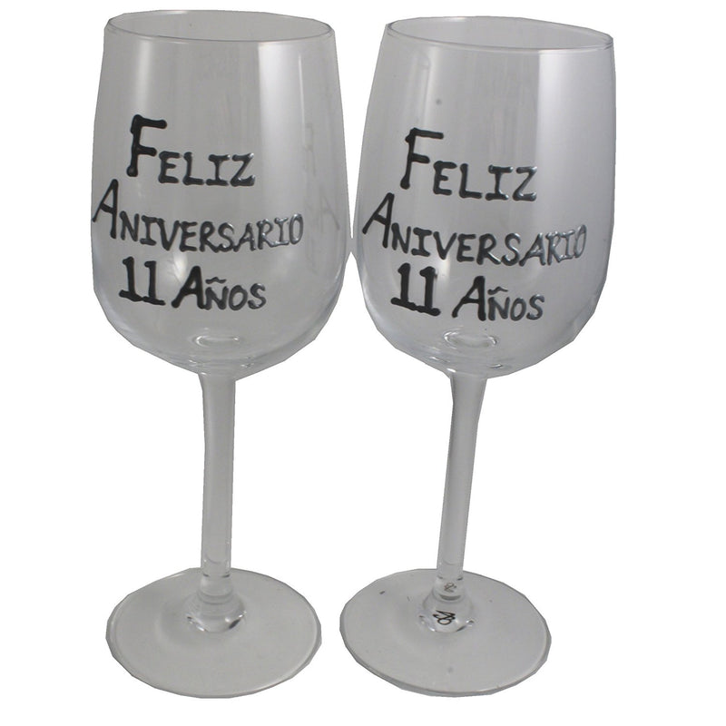 Un par de Copas de Vino Feliz Aniversario 11 Años - 11th Wedding Anniversary Pair of Wine Glasses (Blk/Sil)