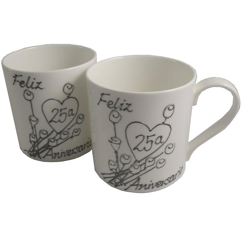 Par de China Tazas Feliz Aniversario 25 Años - 25th Wedding Anniversary Pair of China Mugs  (Flower)