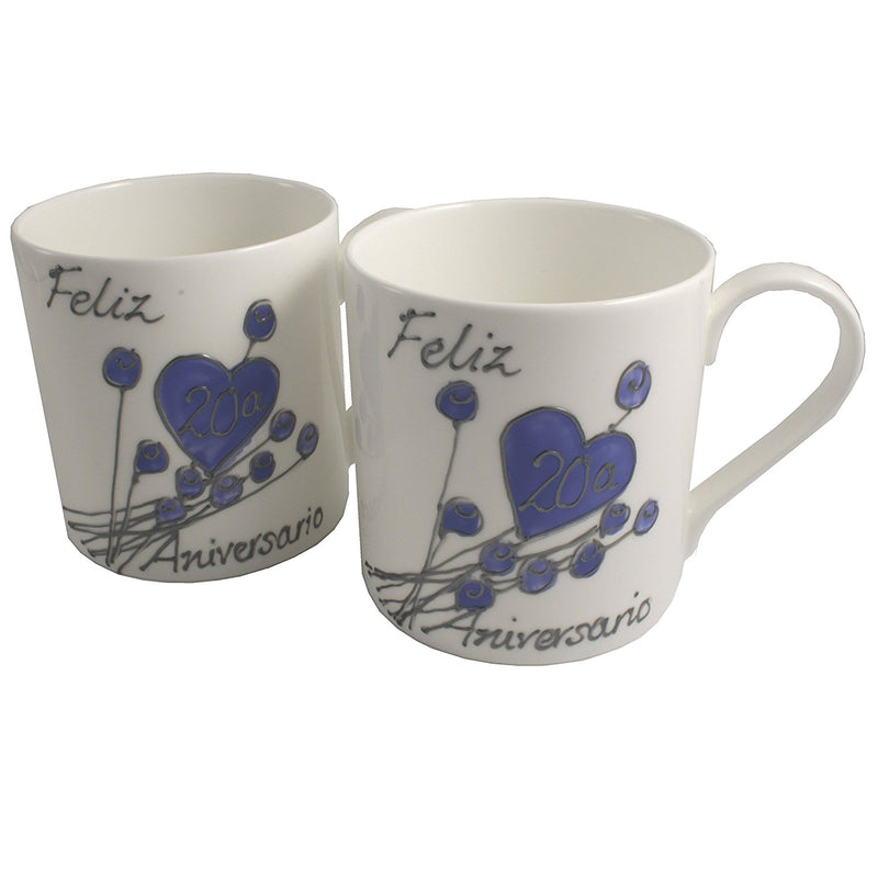 Par de China Tazas Feliz Aniversario 20 Años - 20th Wedding Anniversary Pair of China Mugs  (Flower)