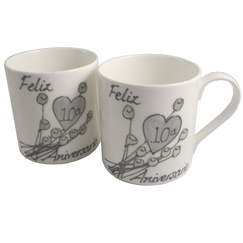 Par de China Tazas Feliz Aniversario 10 Años - 10th Wedding Anniversary Pair of China Mugs  (Flower)
