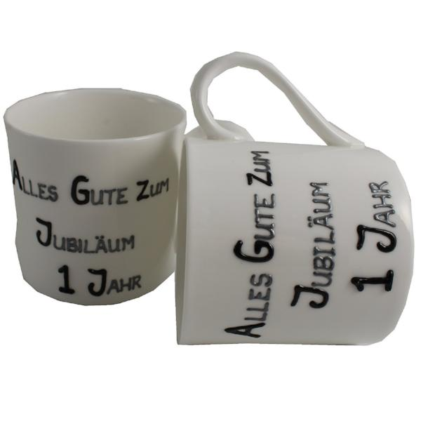 1 Jahr Alles Gute Zum Jubiläum Paar Feines Bone China Becher - 1st Wedding Anniversary Fine Bone China Mugs (Blk/Sil)