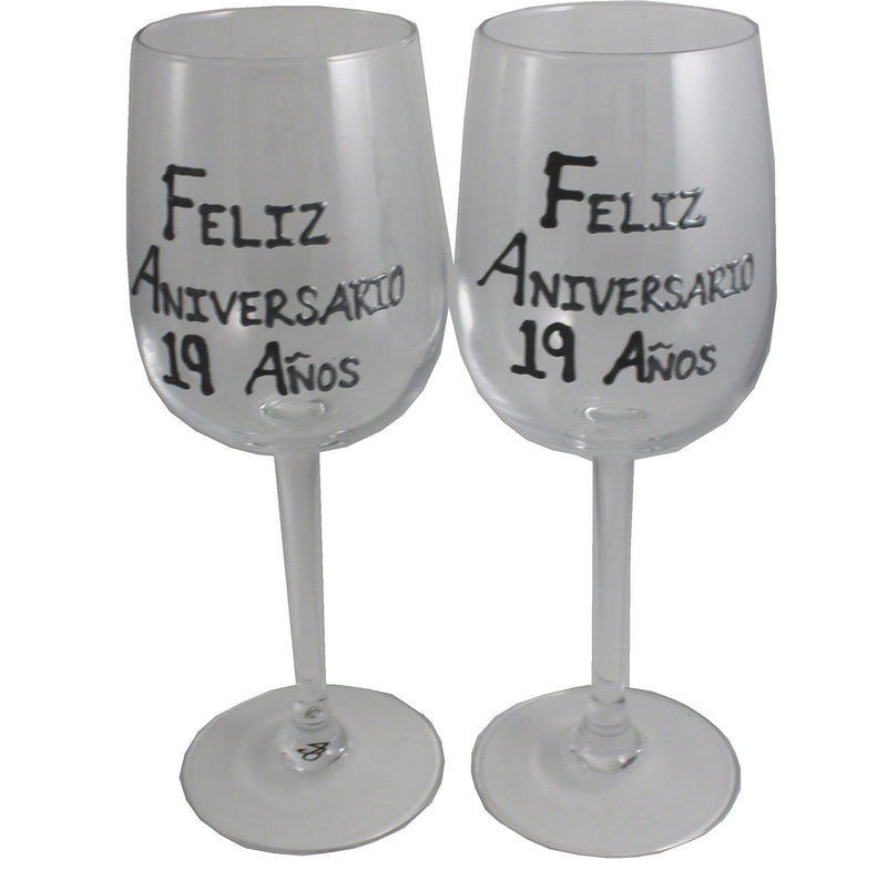Un par de Copas de Vino Feliz Aniversario 19 Años - 19th Wedding Anniversary Pair of Wine Glasses (Blk/Sil)