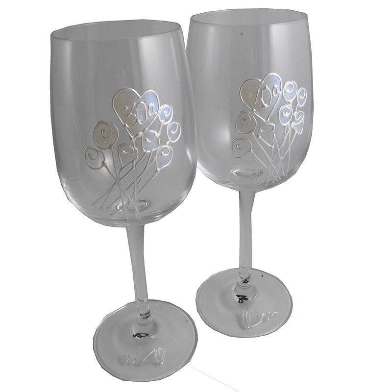 Un par de Copas de Vino Feliz Aniversario 30 Años - 30th Wedding Anniversary Pair of Wine Glasses (Flower)