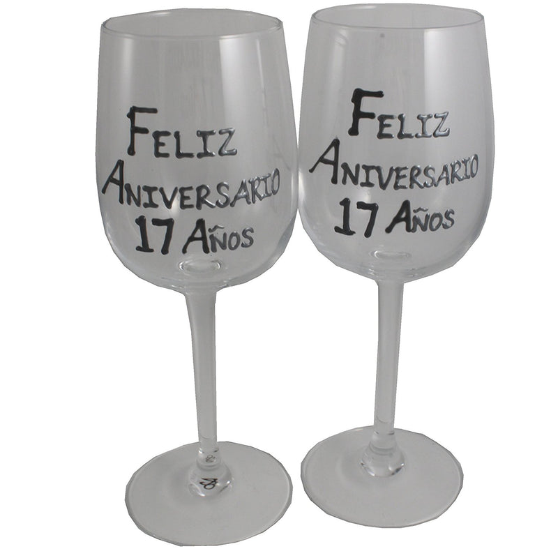 Un par de Copas de Vino Feliz Aniversario 17 Años - 17th Wedding Anniversary Pair of Wine Glasses (Blk/Sil)