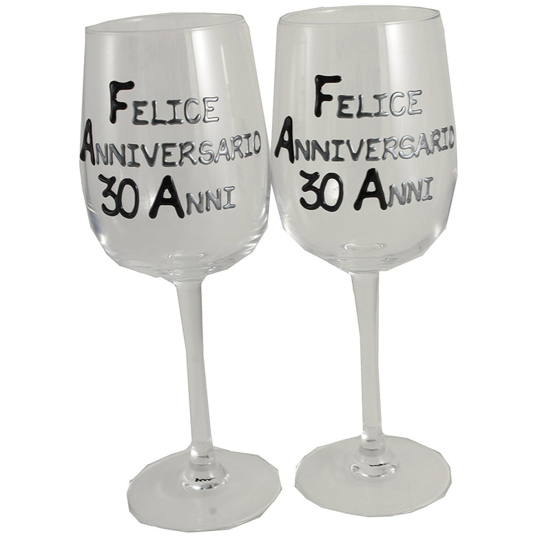 Coppia di bicchieri da vino 30° Anniversario - 30th Anniversary Pair of Wine Glasses (Blk/Sil)