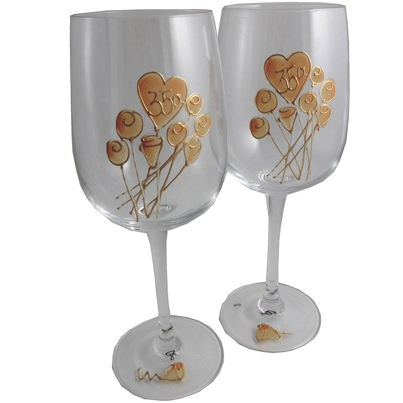 Un par de Copas de Vino Feliz Aniversario 35 Años - 35th Wedding Anniversary Pair of Wine Glasses (Flower)