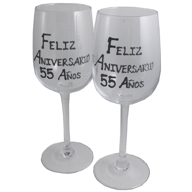Un par de Copas de Vino Feliz Aniversario 55 Años - 55th Wedding Anniversary Pair of Wine Glasses (Blk/Sil)