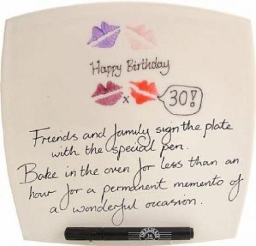 30th Birthday Gift Square Plate lips