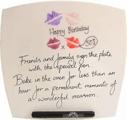 50th Birthday Gift Square Plate lips