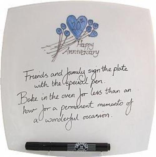 20th Wedding Anniversary Plate Square Flower