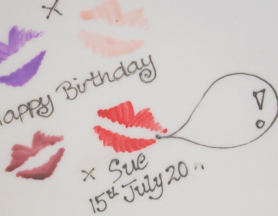 Personalised Birthday Square Plate Lips