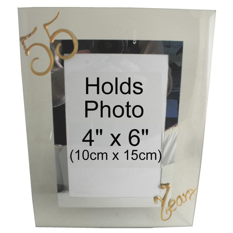 55 Years Wedding Anniversary photo/picture frame Port (Crystalled)