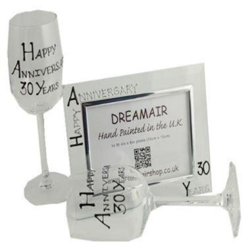 30th Wedding Anniversary Gift Set Blk/Sil