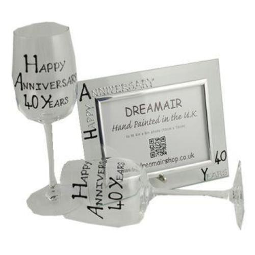 40th Wedding Anniversary Gift Set Blk/Sil