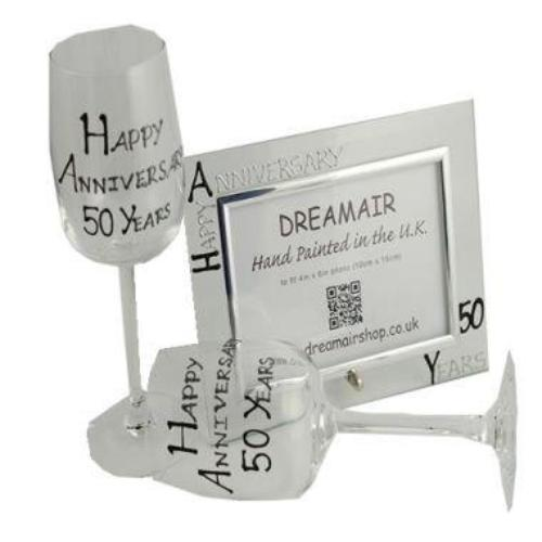 50th Wedding Anniversary Gift Set Blk/Sil
