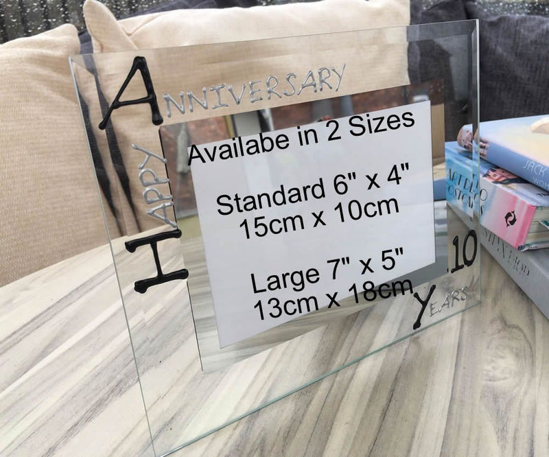 10th Wedding Anniversary Photo Frame Land Blk/Sil