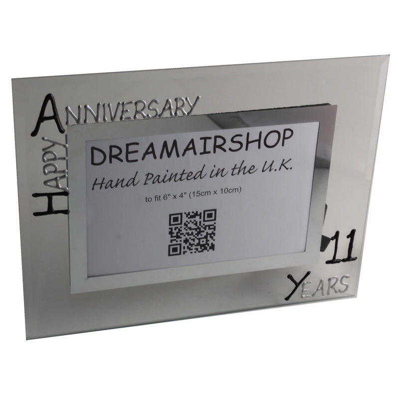 11th Wedding Anniversary Gift Photo Frame Landscape (Blk/Sil)