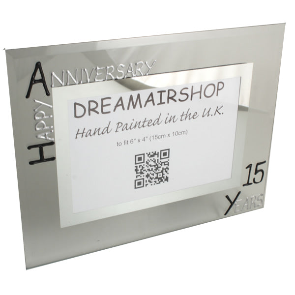 15th Wedding Anniversary Photo Frame Land Blk/Sil