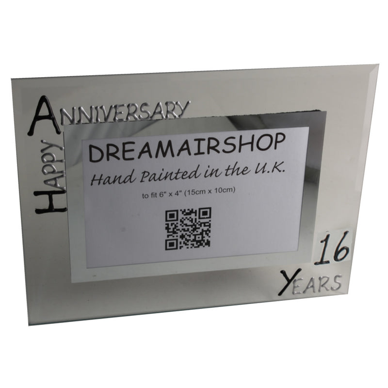 16th Wedding Anniversary Gift Photo Frame Landscape (Blk/Sil)