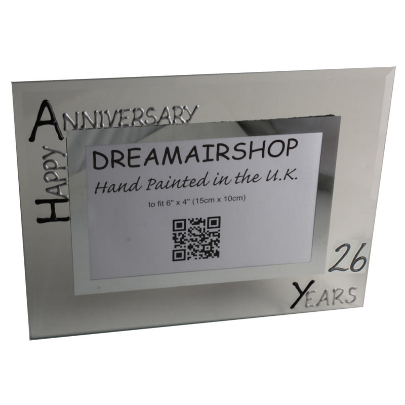 26th Wedding Anniversary Gift Photo Frame Landscape (Blk/Sil)